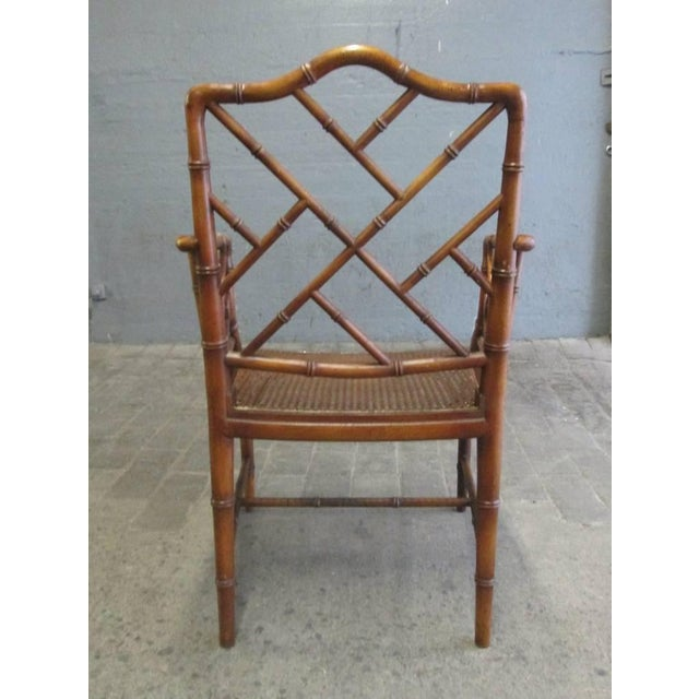 Pair of Chinese Faux Bamboo Chippendale Style Armchairs For Sale - Image 4 of 7
