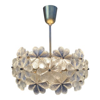Small Ernst Palme Floral Glass Chandelier For Sale