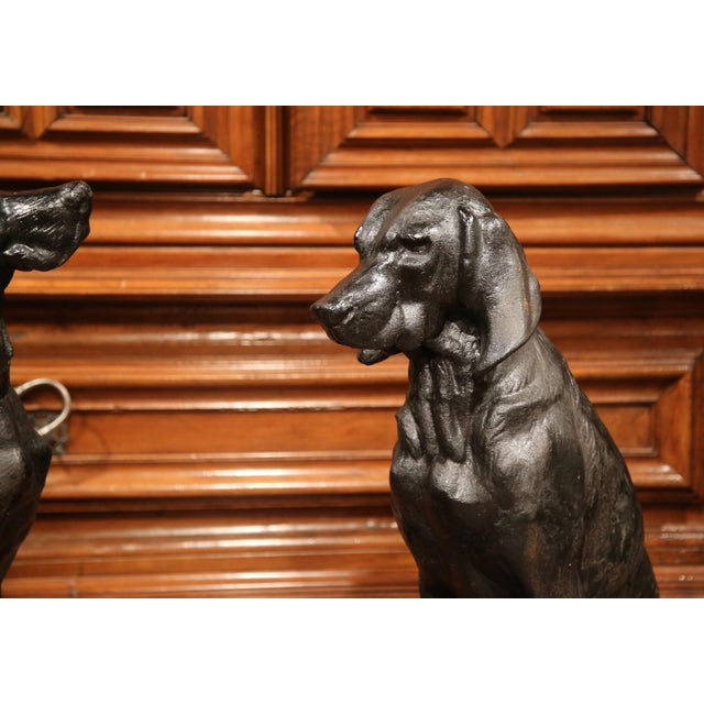 Pair of Lifesize French Iron Hunting Labradors Retrievers after Jacquemart For Sale In Dallas - Image 6 of 10