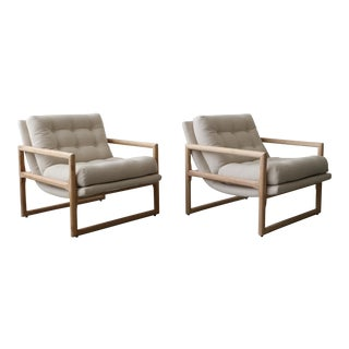 Mid Century Oak Scoop Lounge Chairs by Milo Baughman For Sale