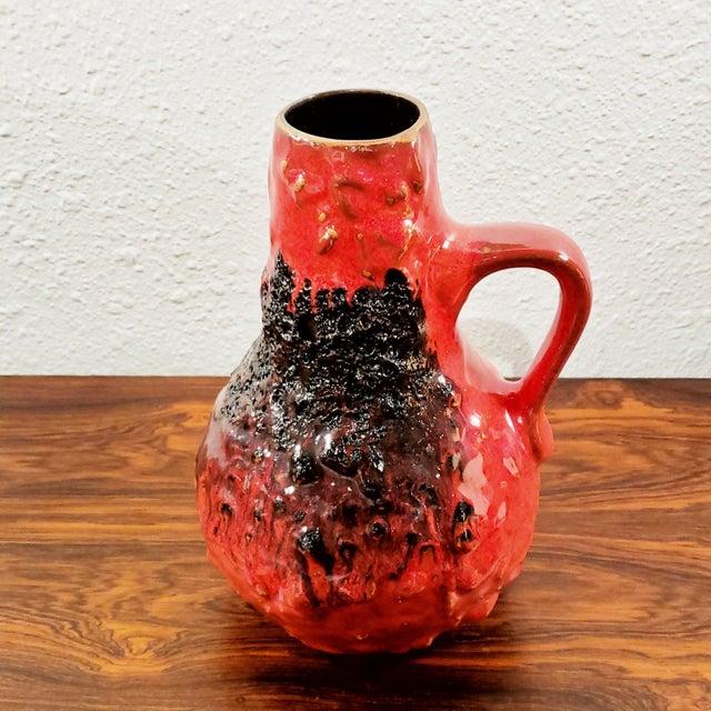 "1960s Kreutz Keramik Red/Black Fat-Lava Jug Vase 201 (9.3"") For Sale In Austin - Image 6 of 12"