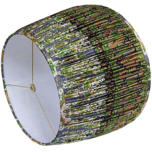 Boho Chic Green/Mustard/Steel Blue Silk Sari Lamp Shade For Sale - Image 3 of 4