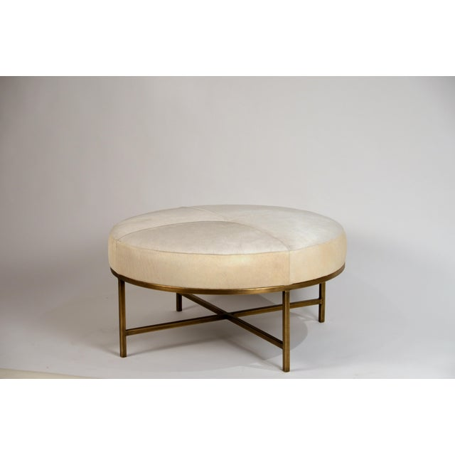 Contemporary Small White Hide and Patinated Brass 'Tambour' Ottoman by Design Frères For Sale - Image 3 of 9