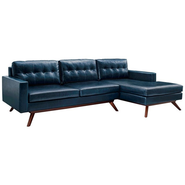 Two Piece Antiqued Leather Sectional Sofa - Image 2 of 4