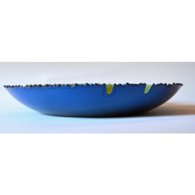 "Curtis Jere Mid Century Modern Curtis Jeré Enamel Bird Ashtray Bowl 11"" For Sale - Image 4 of 7"