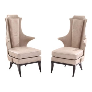 1950s Vintage Sculptural Leather and Ebonized Mahogany Lounge Chairs- A Pair For Sale