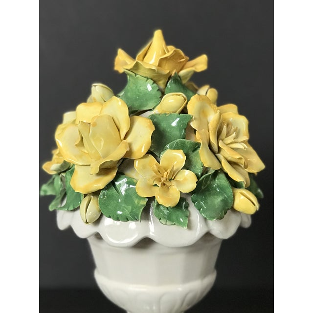 Cottage Vintage Italian Ceramic Lidded Yellow Rose Topiary Jar For Sale - Image 3 of 10