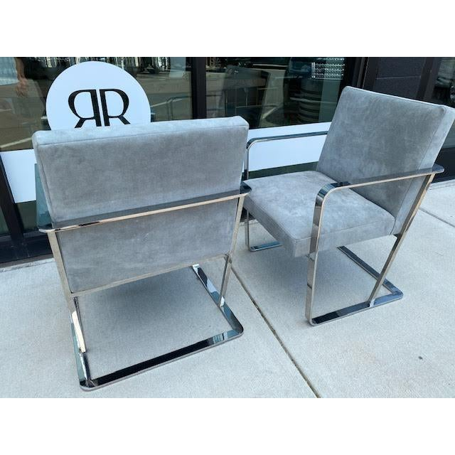 1960s Pair of Vintage Chrome Chairs, Newly Recovered in Hide For Sale - Image 5 of 11