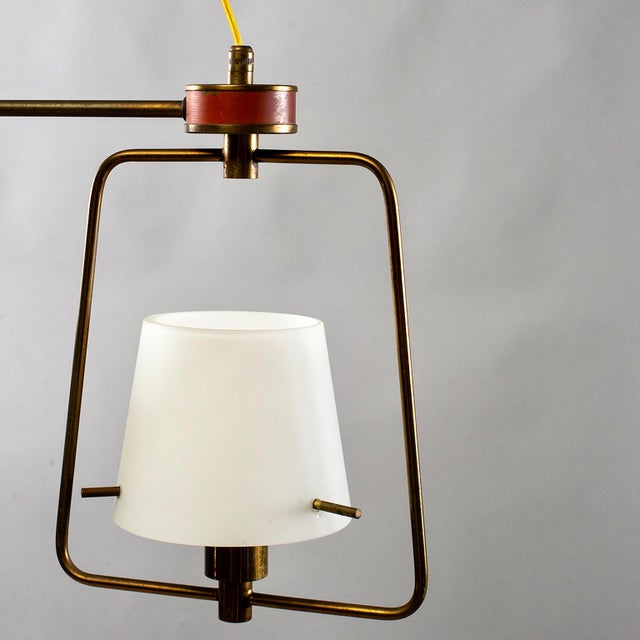 Metal Mid Century Stilnovo Chandelier With Frosted Glass Shades For Sale - Image 7 of 12