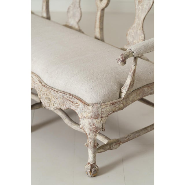18th Century Swedish Rococo Period Settee or Bench in Original Paint For Sale - Image 11 of 12