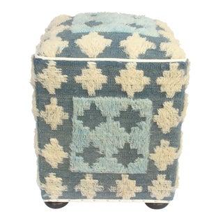 Mellissa Blue/Ivory Morrocan Wool Upholstered Handmade Ottoman