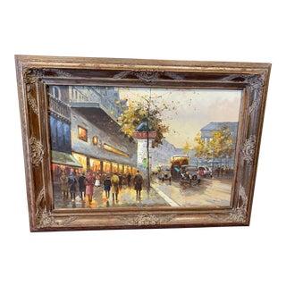 Vintage Mid Century Modern Impressionist Paris Street Scene Oil on Canvas, C 1950 For Sale