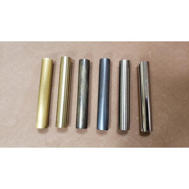 Metal Blueprint Lighting Orbital Black Enamel, Glass & Bronze Three-Arm Pendant For Sale - Image 7 of 8