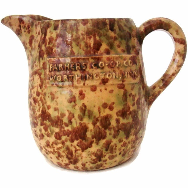 Antique Spatterware Farmer's Co-Op Pitcher For Sale In Phoenix - Image 6 of 6