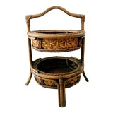 Image of Vintage Pagoda Bamboo Two Tiered Baskets For Sale