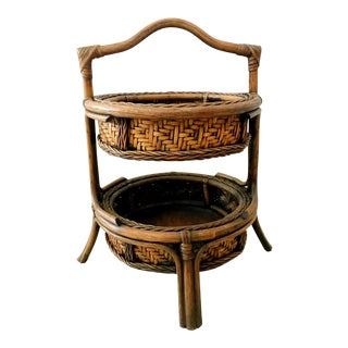 Vintage Pagoda Bamboo Two Tiered Baskets For Sale