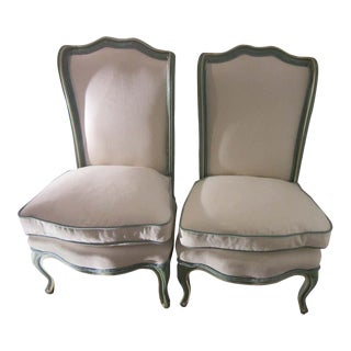 1950s Vintage Hollywood Regency Blue Slipper Chairs - a Pair For Sale