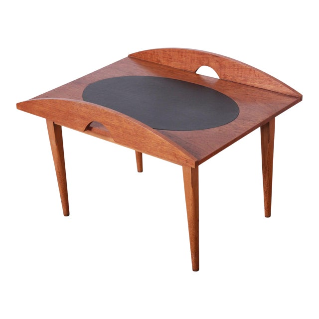 Paul McCobb for Lane Signature Collection Walnut and Leather Occasional Side Table For Sale