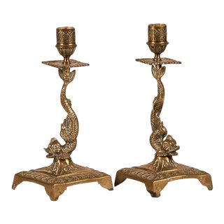 19th Century French Large Square Dolphin Base Candlesticks - a Pair For Sale
