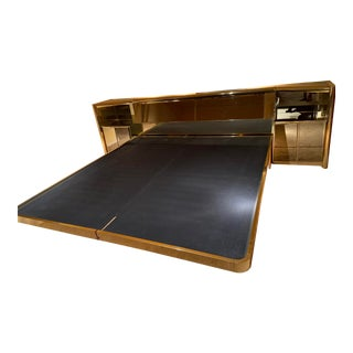 1980s Brass and Bronze Mirrored Platform Bed by Ello For Sale