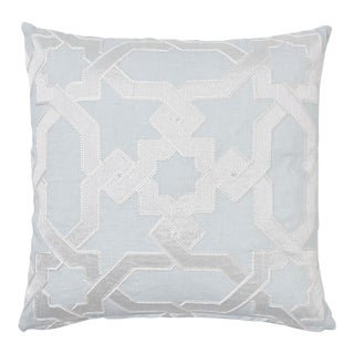 Schumacher Cordoba Embroidery Pillow in Mist For Sale