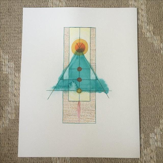 Lori Fox Abstract Watercolor Totem - Image 2 of 9