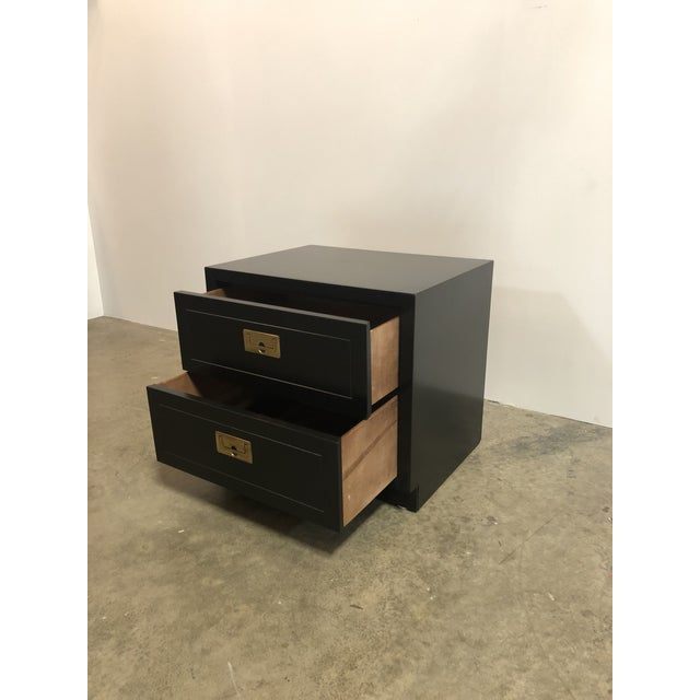Brass 2 Drawer Henredon Black Lacquered Campaign Chest For Sale - Image 7 of 12
