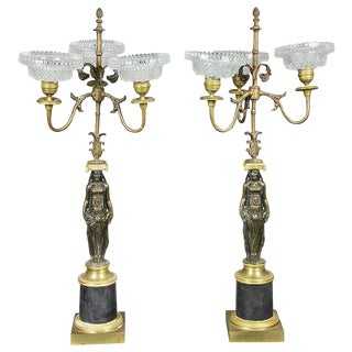 Pair of Empire Ormolu and Bronze Candelabra For Sale
