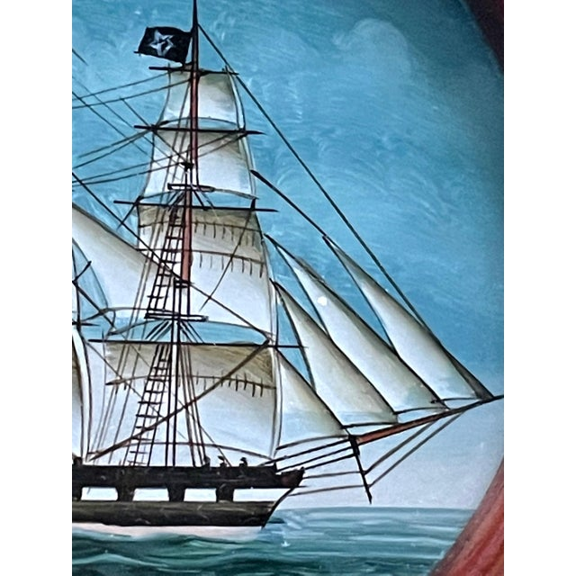 Brown Vintage American Clipper Ship Reverse Painted Wood Box, Round Trinket Box For Sale - Image 8 of 11
