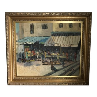 Early 20th Century Antique Acrylic on Canvas Street Scene Painting For Sale