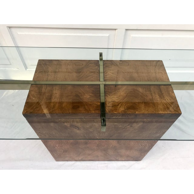 Contemporary Vintage Lane Burl Wood Console Table For Sale - Image 3 of 12