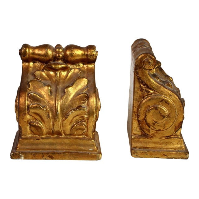 1940's Hollywood Regency Neoclassical Romanesque Scroll Gilt Bookends - a Pair For Sale