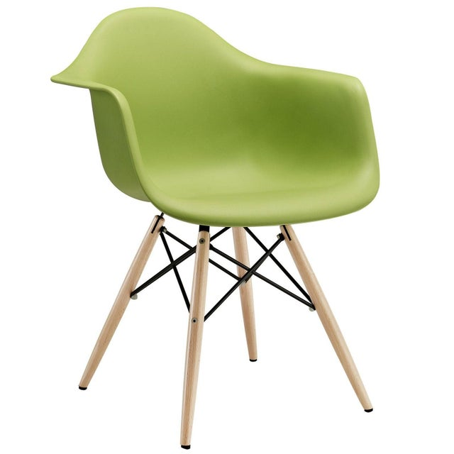 Eames Style Molded Plastic Chair - Green For Sale