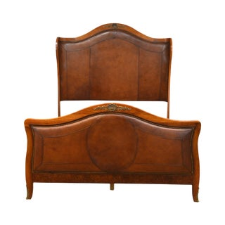Henredon Mahogany & Brown Leather French Louis XV Style Queen Size Bed For Sale