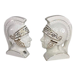 Mid-Century Roman Soldier Ceramic Bookends - a Pair For Sale