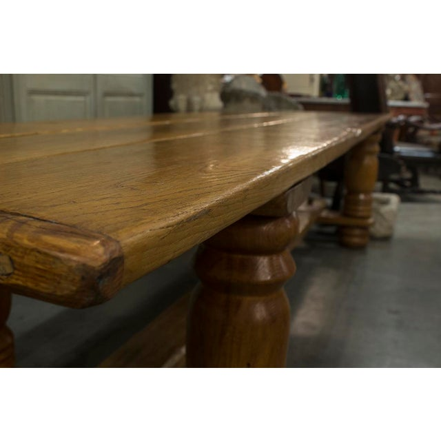 English Oak Plank Top Trestle Table For Sale - Image 4 of 6