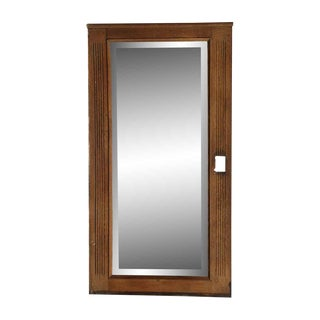 Long Vertical Oak Mirror With Cut for a Sconce For Sale