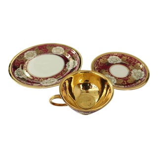 Rosenthal Gold Red White Porcelain Bone Chine Tea Coffee Set For Sale