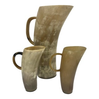 Antique Scottish Cow Horn Pitcher and Cups - 3 Pc. Set For Sale
