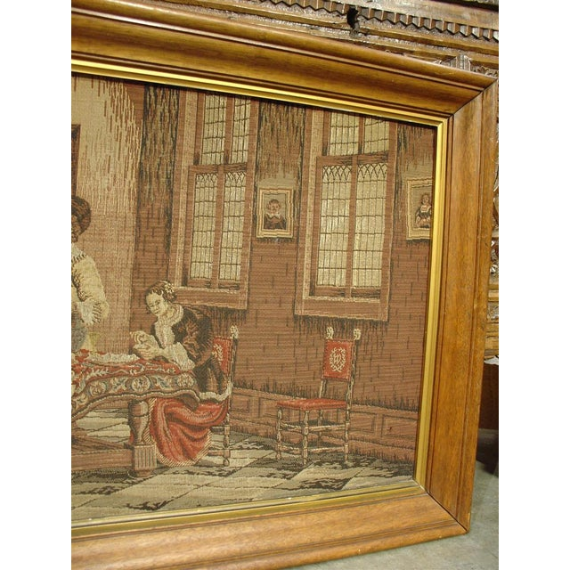 A Long Oak Framed French Tapestry Depicting an Interior Scene, Circa1900 For Sale - Image 4 of 10