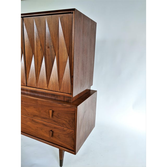 Albert Parvin Sculptural Diamond Front Highboy Dresser For Sale - Image 5 of 9