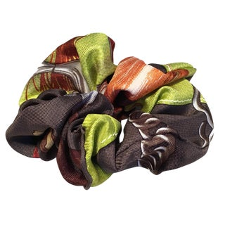 Hermes Handmade Vintage Silk Scarf Scrunchie in Green and Dark Gray For Sale