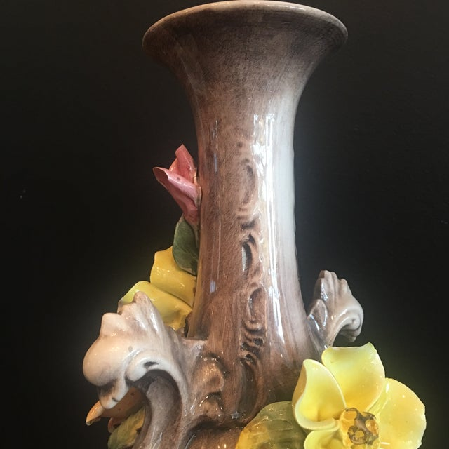 White Vintage Capodimonte Majolica Porcelain Vase For Sale - Image 8 of 13