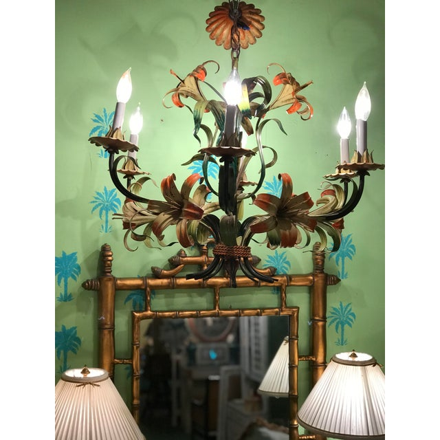 Vintage Italian Hand Painted Tiger Lily Tole Chandelier For Sale - Image 12 of 13