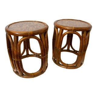 Vintage McGuire Drum Tables - a Pair For Sale