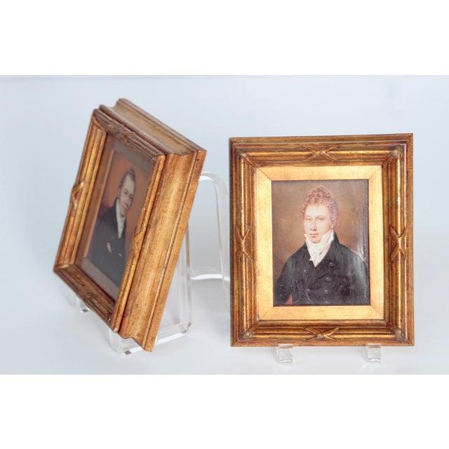 Pair of Well-Painted Portrait Miniatures / Handsome English Regency Gentlemen For Sale - Image 10 of 13