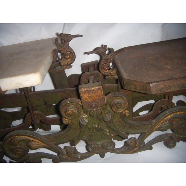 Brown Victorian German Made Cast Iron & Marble Scale For Sale - Image 8 of 11