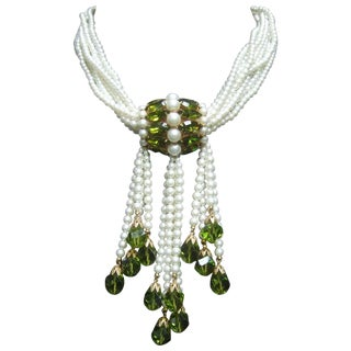Exquisite Glittering Crystal Pearl Beaded Necklace For Sale