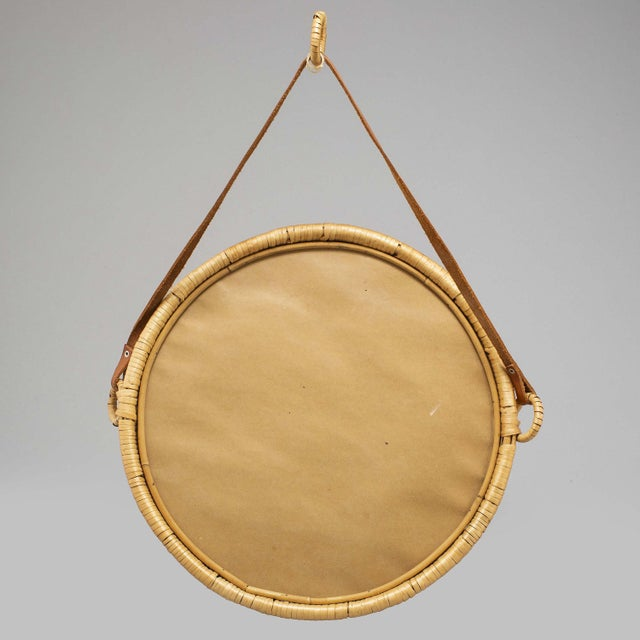 Mid-Century Modern Mirror, Rattan, Sweden 1960s For Sale - Image 3 of 5