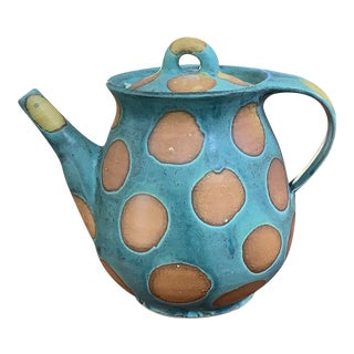 1985 Contemporary Handmade Spotted Ceramic Lidded Teapot For Sale